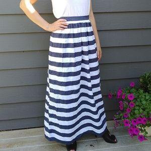 BANANA REPUBLIC awning striped patio maxi skirt XS